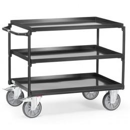Chariot 400 kg avec 3 plateaux en tôle avec rebords