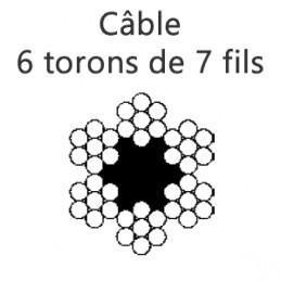 Câble 6 mm en 6 torons de 7 fils
