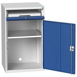 Armoire informatique avec 1 étagère et 1 plateau coulissant porte bleue.
