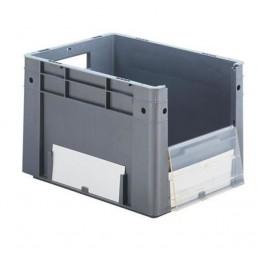 Bac euronorm 400x300x270 mm avec ouverture frontale couleur avec étiquettes.