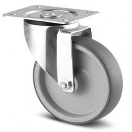 Roulette acier pivotante bandage caoutchouc thermoplastique non tachant