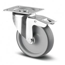 Roulette acier pivotante à frein bandage caoutchouc thermoplastique non tâchant