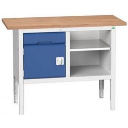 Etabli monobloc 1250 mm 1 armoire et une étagère porte bleu.