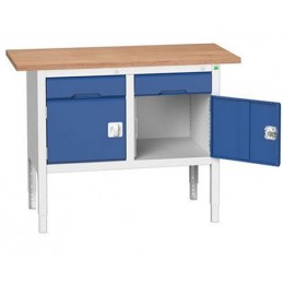 Etabli monobloc 1250 mm 2 tiroirs et 2 placards bleu.