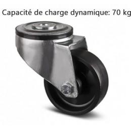 Roulette pivotante industrielle avec chape en acier embouti