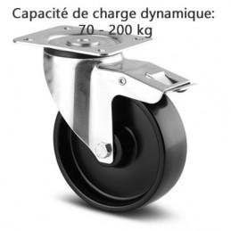 Roulette pivotante à blocage total corps de roue polypropylène