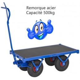 Remorque très robuste acier capacité 500 kg