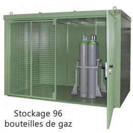 Box de stockage pour bouteilles de gaz finition laqué pour 96 bouteilles de gaz.