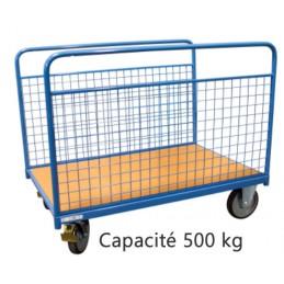 Chariot 2 ridelles grillagées capacité 500 kg