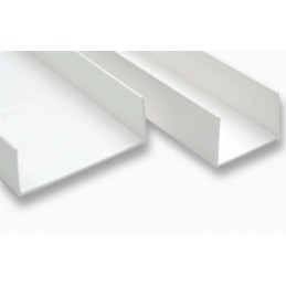 Profil U-1.5 mm droit symétrique PVC blanc