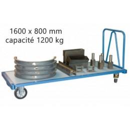 Chariot industriel pour charges lourdes 1600 x 800 mm 1200 kg