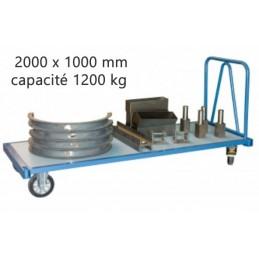 Chariot industriel pour charges lourdes 2000 x 1000 mm 1200 kg