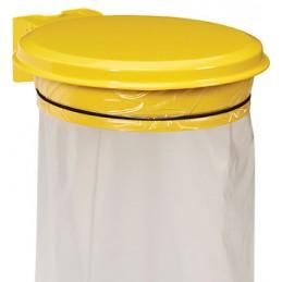 Support sac mural avec couvercle 110L jaune