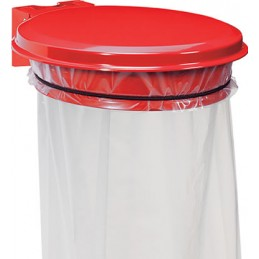 Support sac mural avec couvercle 110L rouge