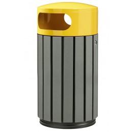 Corbeille extérieure 40 litres gris jaune