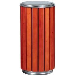 Corbeille 80 litres couvercle galavanisé extérieure avec latte bois