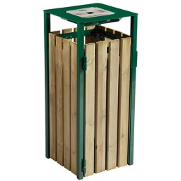 Corbeille 110 litres avec cendrier bois - vert