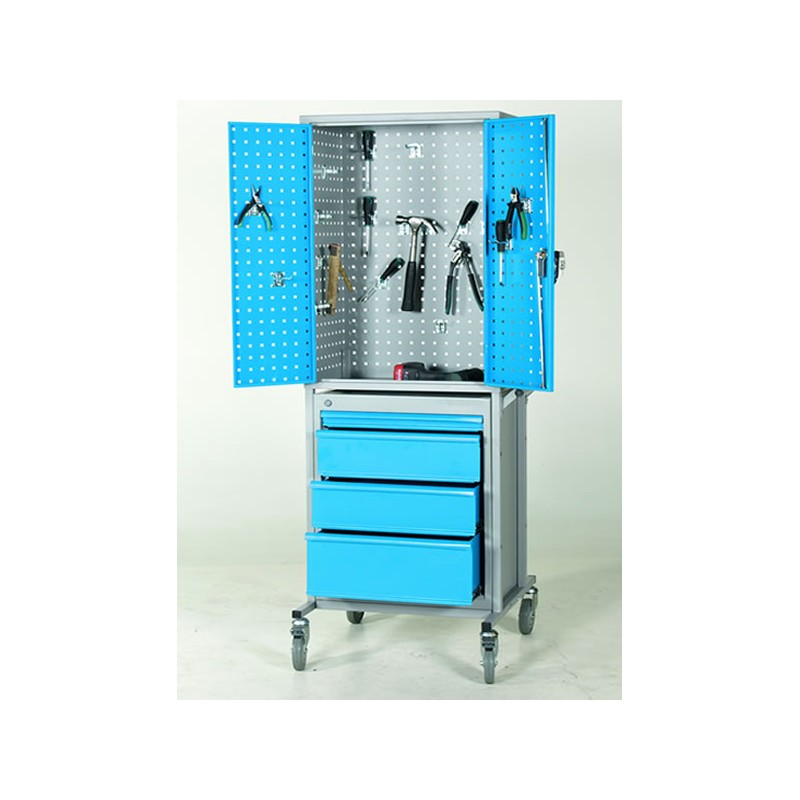 Chariot d'atelier avec armoire perforée et caisson à tiroirs