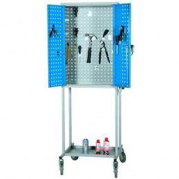 Chariot d'atelier avec armoire perforée et caisson à tiroirs sans le caisson.