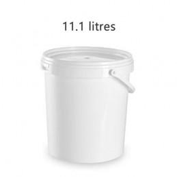Seau alimentaire 11.1 litres UN blanc avec couvercle