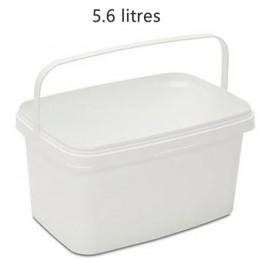 Seau rectangulaire 5.6 litres sans couvercle avec support plastique