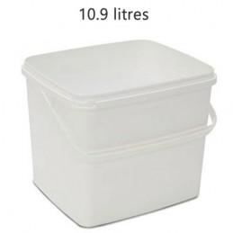 Seau rectangulaire 10.9 litres sans couvercle avec support plastique