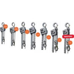 Palan manuel à chaîne aluminium : l'ensemble de la gamme de palan aluminium allant de 250 à 5000 kg.