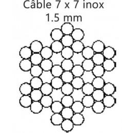 Câble 1.5 mm inox 7 torons de 7 fils croisé droite préformé