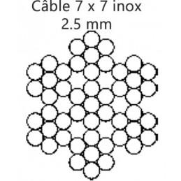 Câble 2.5 mm inox 7 torons de 7 fils croisé droite préformé