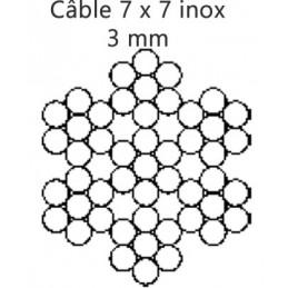 Câble 3.0 mm inox 7 torons de 7 fils croisé droite préformé