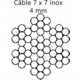 Câble 4.0 mm inox 7 torons de 7 fils croisé droite préformé