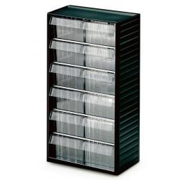 Armoire quincaillerie avec 12 tiroirs transparents