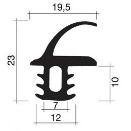 Joint 23 x 19.5 mm en caoutchouc noir pour porte
