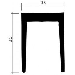 Joint 35 x 25 mm en caoutchouc noir pour porte