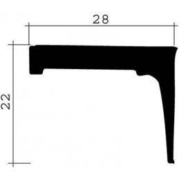 Joint 22 x 28 mm en caoutchouc noir pour porte