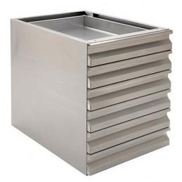 Coffret complet avec 6 tiroirs en inox AISI 304 pour boules pâte à pizza