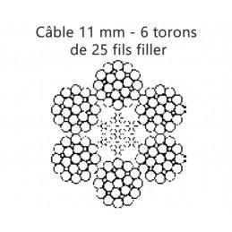 Câble 11 mm - 6 torons  de 25 fils filler