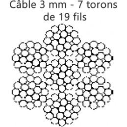 Câble enroulé 3 mm 7 torons de 19 fils rupture 720 kg