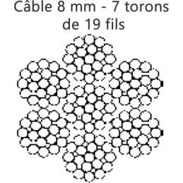 Câble enroulé 8 mm 7 torons de 19 fils rupture 4108 kg