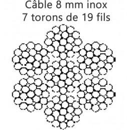 Câble inox 8 mm - 7 torons de 19 fils rupture 3800 kg