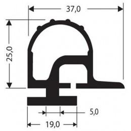 Bourrelet caoutchouc hauteur 25 mm noir