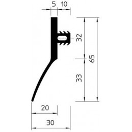 Bourrelet raclant caoutchouc largeur 30 mm noir