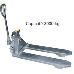 Transpalette peseur manuel galvanisé capacité 2000 kg