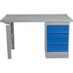 Table de travail renforcée avec caisson de tiroirs