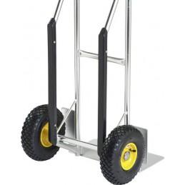 Diable 200 kg aluminium Stanley : gros plan sur les roues.