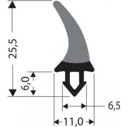 Joint caoutchouc à clipser noir hauteur 25.5 mm