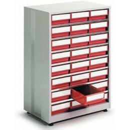 Armoire haute densité 24 tiroirs rouge