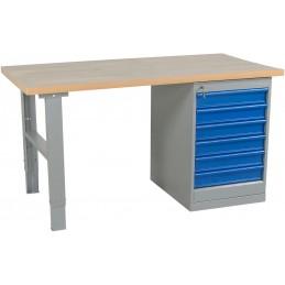 Table de travail renforcée avec 6 tiroirs