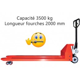 Transpalette manuel 2000 mm grande capacité 3500 kg