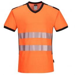 T-shirt coton col V haute visibilité orange